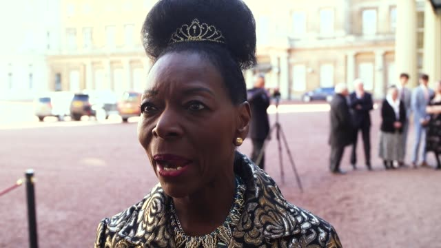 baroness benjamin speaks at buckingham palace after collecting her damehood from the prince of wales in recognition of her charity work the former... - floella benjamin stock videos & royalty-free footage