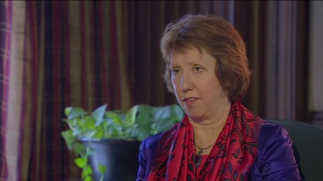 baroness catherine ashton, first non-egyptian national to meet with president morsi after ousting, speaks of his condition - baroness stock videos & royalty-free footage