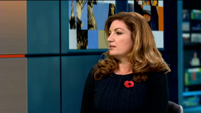baroness karen brady interview; england: london: gir: int baroness brady live studio interview sot - 男爵夫人点の映像素材/bロール