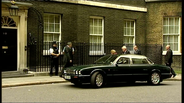 Baroness Thatcher arrives at Downing Street and is greeted by Gordon Brown ENGLAND London Downing Street EXT Margaret Thatcher gets out of car and is...