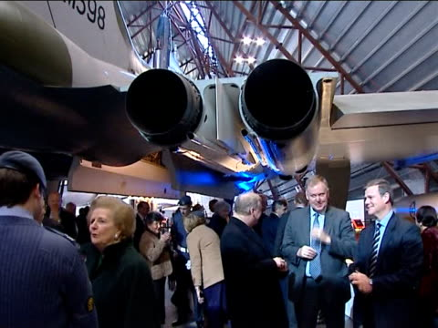 vídeos de stock e filmes b-roll de baroness thatcher at opening of national cold war exhibition vars baroness margaret thatcher stands talking with two raf cadets other guests in... - cadete