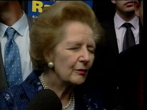 stockvideo's en b-roll-footage met baroness thatcher cheered as from car to campaign baroness thatcher signing autographs on 'keep the pound' leaflets pull out baroness thatcher... - william hague