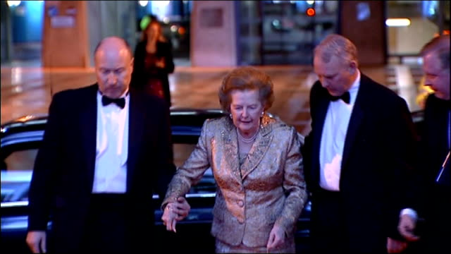 baroness thatcher leaves hospital after health scare 3112008 baroness thatcher helped out of car and speech as receiving lifetime achievement award... - 退院点の映像素材/bロール