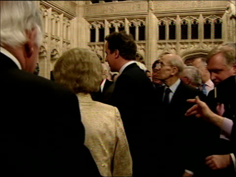 baroness thatcher unveils statue of herself at westminster general views of attendees / thatcher speech and unveiling statue thatcher meeting david... - digital camera stock videos and b-roll footage