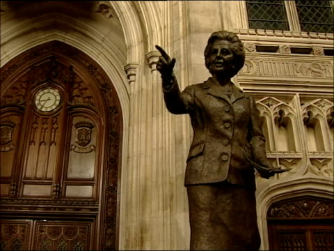 Baroness Thatcher unveils statue of herself at Westminster General views of attendees / Thatcher speech and unveiling statue General views of...
