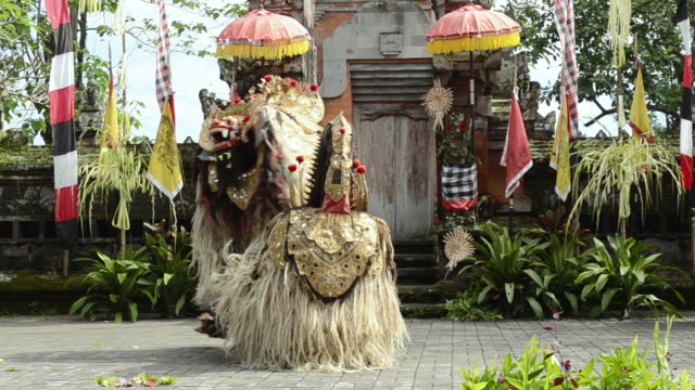 MS Barong dance performing near temple AUDIO /  Batubulan, Bali, Indonesia