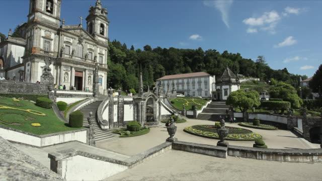 ws baroque church and garden at sanctuary of bom jesus do monte / braga, portugal - baroque stock videos & royalty-free footage