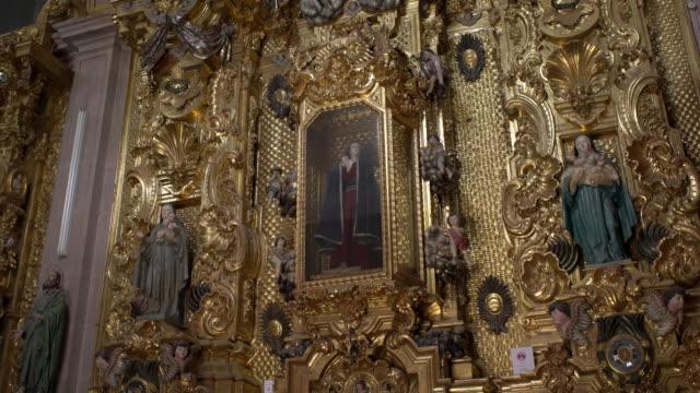 baroque gold, santa clara church, queretaro - female likeness stock videos & royalty-free footage