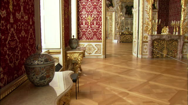 ws tu baroque interior of munich residence (royal palace of the bavarian monarchs), munich, bavaria, germany - 18th century stock videos and b-roll footage