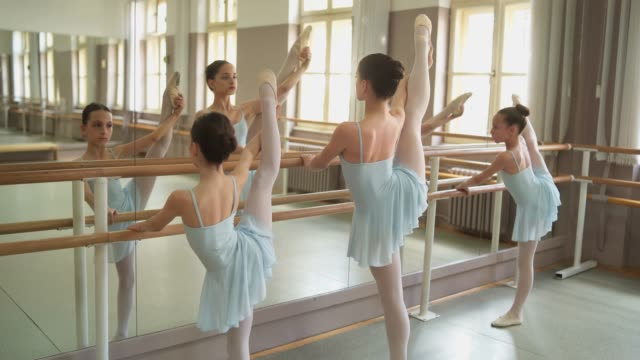 barre as a hekping hand to stretch - barre stock videos & royalty-free footage
