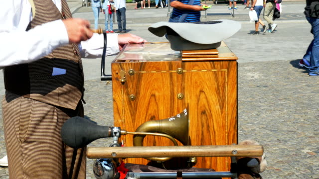 Barrel Organ Player Performing (4K/UHD to HD)
