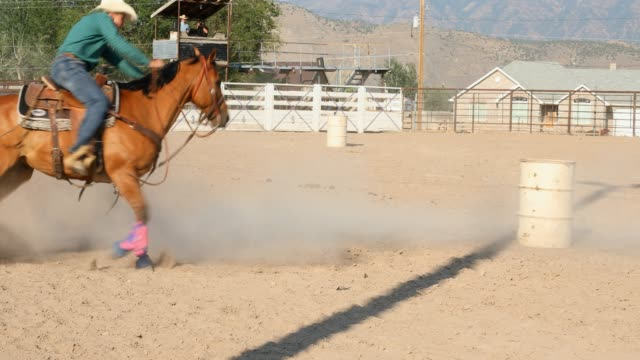 barrel racing cowboy at a dusty rodeo - rodeo stock videos & royalty-free footage