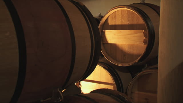 cu barrels in cellar / bordeaux, gironde, france - wine cask stock videos and b-roll footage