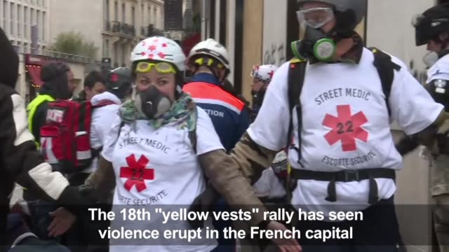 barricades set alight storefronts broken and the arc de triomphe vandalised as the 18th yellow vests protest in the french capital in paris turns... - vandalism stock videos & royalty-free footage