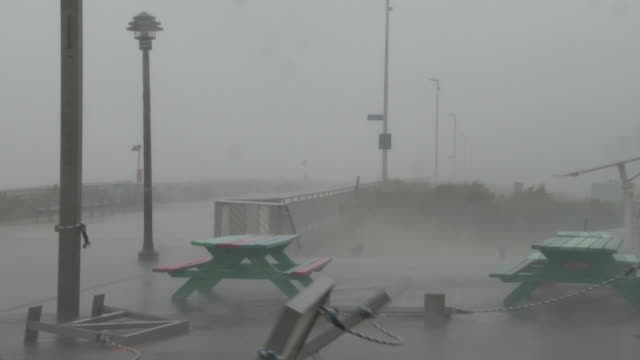 barricades topple over as hurricane force wind gusts batter rockaway beach during tropical storm isaias queens new york new york - scott mcpartland stock videos & royalty-free footage
