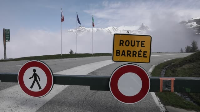 barriers close access to the little st bernard pass , linking in the alps france to italy on may 16, 2020 in montvalezan, france. italy plans to... - european alps stock videos & royalty-free footage