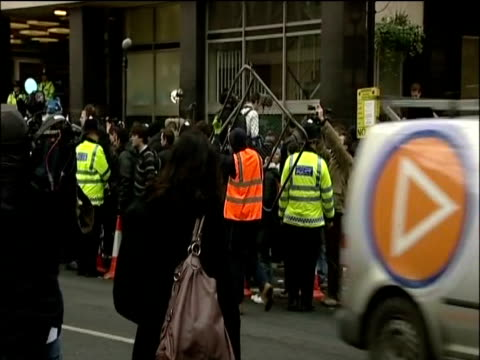Barriers outside Westminster Court in anticipation of a protest in support of Wikileaks founder Julian Assange during his bail appeal appearance