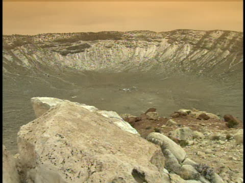 ms, pan, barringer meteor crater, arizona, usa - meteor crater stock videos & royalty-free footage