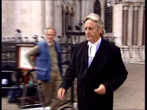 barry george appeal begins; itn high court: lms michael mansfield qc towards from court past press pull out i/c - michael barry stock videos & royalty-free footage