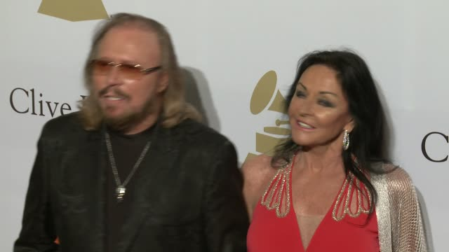 Barry Gibb and Linda Gray at the 2017 PreGrammy Gala Honoring Debra L Lee With Grammy Salute To Industry Icons Award at The Beverly Hilton Hotel on...