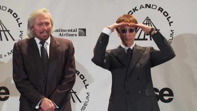 Barry Gibb and Robin Gibb at the 25th Annual Rock And Roll Hall Of Fame Induction Ceremony Press Room at New York NY