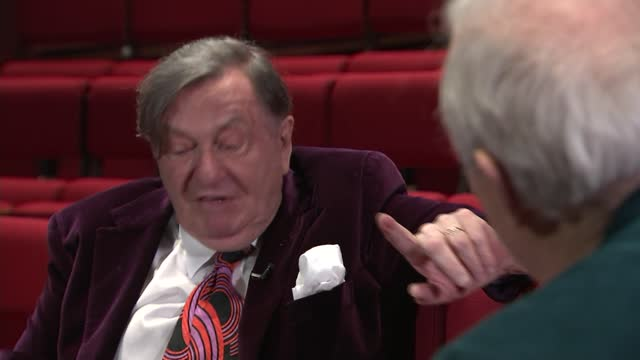 barry humphries interview; england: int barry humphries set up shots with reporter / interview sot / humphries giving jon snow present of tie from... - jon snow journalist stock-videos und b-roll-filmmaterial