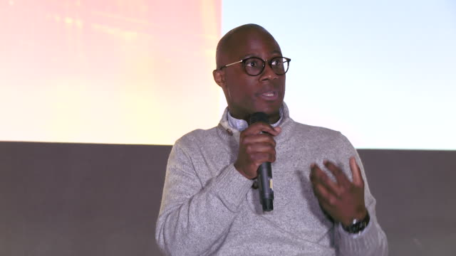 vídeos de stock, filmes e b-roll de interview barry jenkins and tanehisi coates talk about a certain quality in filmmaking at if beale street could talk qa with barry jenkins and... - if beale street could talk