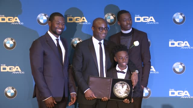 barry jenkins ashton sanders alex hibbert trevante rhodes at 69th annual directors guild of america awards in los angeles ca - directors guild of america awards stock videos & royalty-free footage