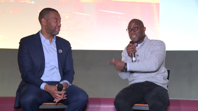 vídeos de stock, filmes e b-roll de interview barry jenkins talks about how his movies could not have existed if it were not for tanehisi coates at if beale street could talk qa with... - if beale street could talk