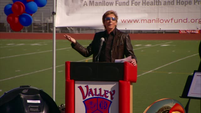 barry manilow at the barry manilow and manilow music project to celebrate half million dollar donation at las vegas nv. - barry manilow stock videos & royalty-free footage