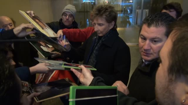 barry manilow leaves the today show, signs and poses for photos with fans in celebrity sightings in new york, - barry manilow stock videos & royalty-free footage