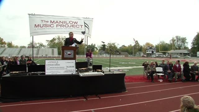 barry manilow on the event at the barry manilow brings music back to joplin students at joplin mo. - barry manilow stock videos & royalty-free footage