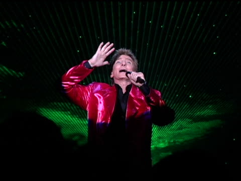 barry manilow performs 'one voice' at the 'barry manilow: music and passion' opening night at the las vegas hilton hotel in las vegas, nevada on... - barry manilow stock videos & royalty-free footage