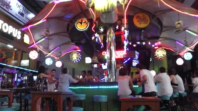Bars on Bangla Road in Patong on Phuket Island in southern Thailand Bangla Road is the center of the nightlife in Patong with many gogo bars and sex...