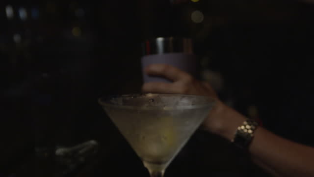 Bartender pouring vodka into shaker with martini glass