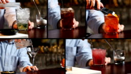 Bartender Preparing Cocktails Multiscreen Video Different Drinks