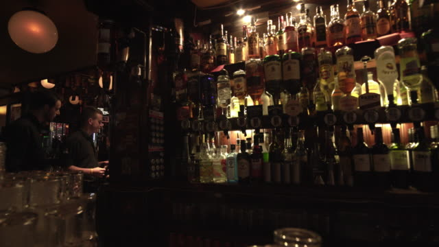 bartenders at work in dublin temple bar pub - pub stock videos & royalty-free footage
