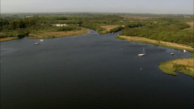 barton broad  - aerial view - england, norfolk, north norfolk district, united kingdom - norfolk england stock videos & royalty-free footage