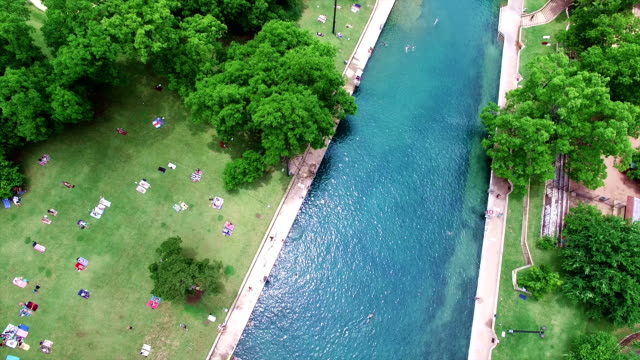 Barton Springs Aerial Shot of Texas Hill Country Paradise 4K