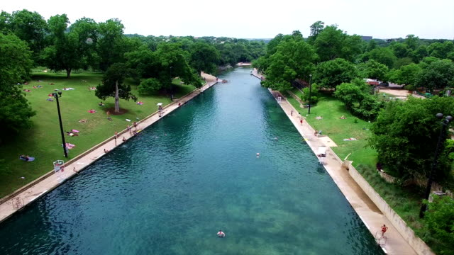 Barton Springs Aerial Shot of Texas Hill Country Paradise Low Angle 4K