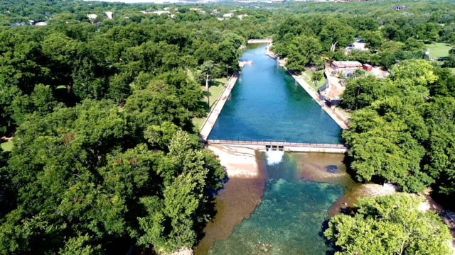 Barton Springs Austin Texas USA gimbal down looking at Barton Creek an Austin Attraction