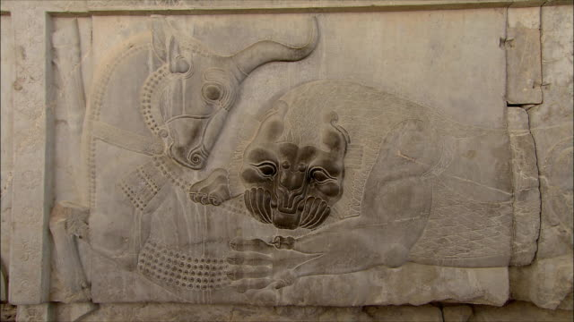cu zi bas relief depicting fighting animals, persepolis, iran - bas relief stock videos & royalty-free footage