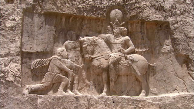 MS ZI Bas relief depicting royal figure on horseback, Near Persepolis, Iran