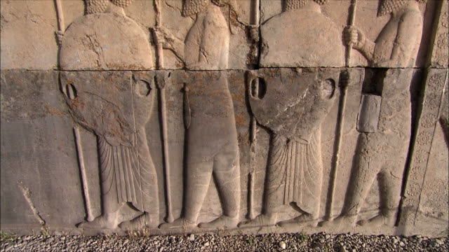 MS TU Bas relief depicting soldiers with spears, Persepolis, Iran