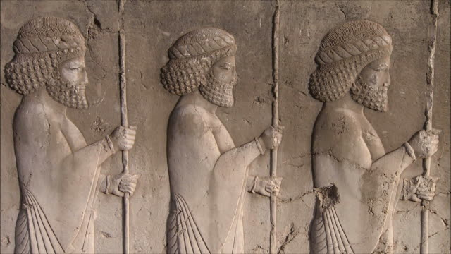 CU TD TU Bas relief depicting soldiers with spears, Persepolis, Iran