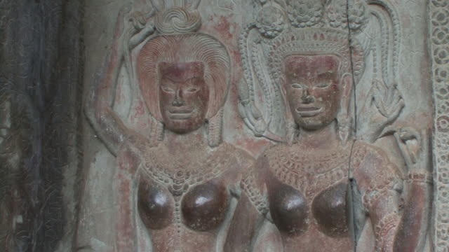 CU TD Bas relief of two female deities / Siem Reap, Cambodia