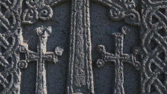 bas- relief on the wall of etchmiadzin cathedral, etchmiadzin city, armavir province, armenia, middle east - bas relief stock videos & royalty-free footage