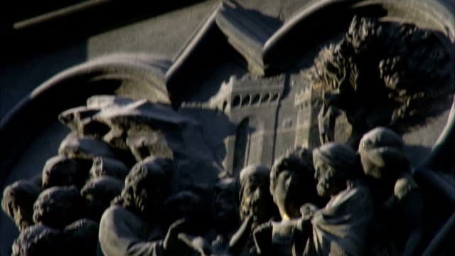bas relief sculptures decorate the walls of santa maria del fiore cathedral in florence. available in hd. - bas relief stock videos & royalty-free footage