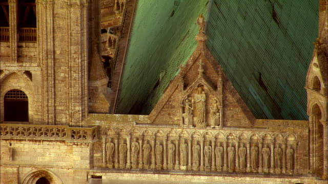 ha cu bas relief statues on chartres cathedral / chartres, centre, france - bas relief stock videos & royalty-free footage
