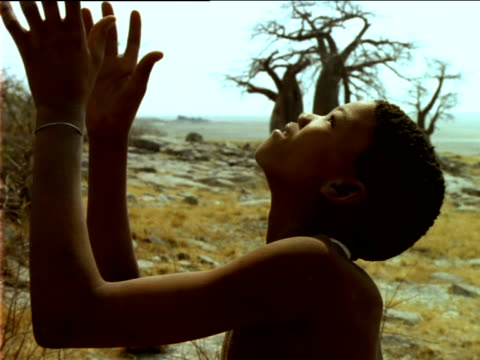 Basarwa boy catches falling fruit, Baobab trees in distance.